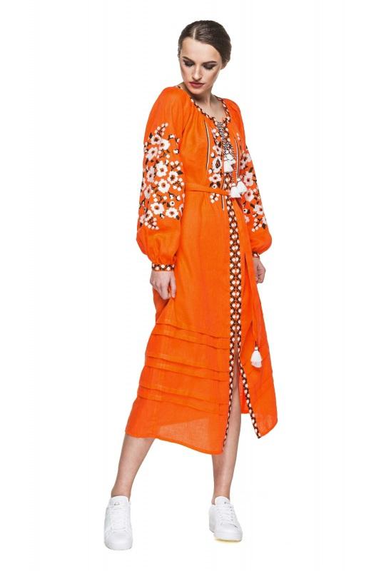 """Платье вышиванка оранжевая """"Флора"""" Оранжевый 100% высококачественный л BAZENA - фото 3"""