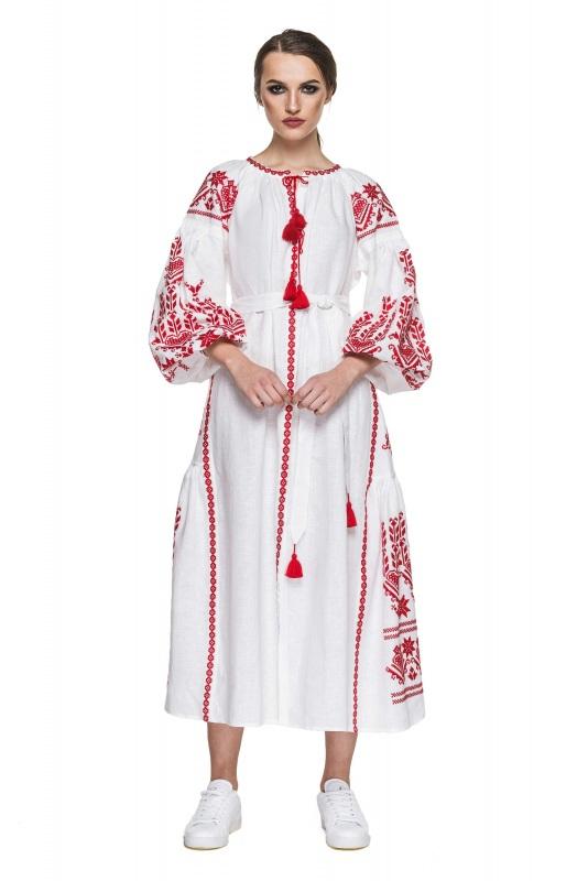 """Платье вышиванка белая """"Агния"""" Белый 100% высококачественный л BAZENA - фото 1"""