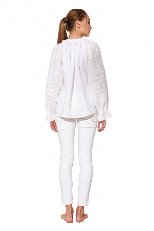 """Блуза вышиванка белая """"Однотонная"""" Белый 100% высококачественный л BAZENA - фото 3"""