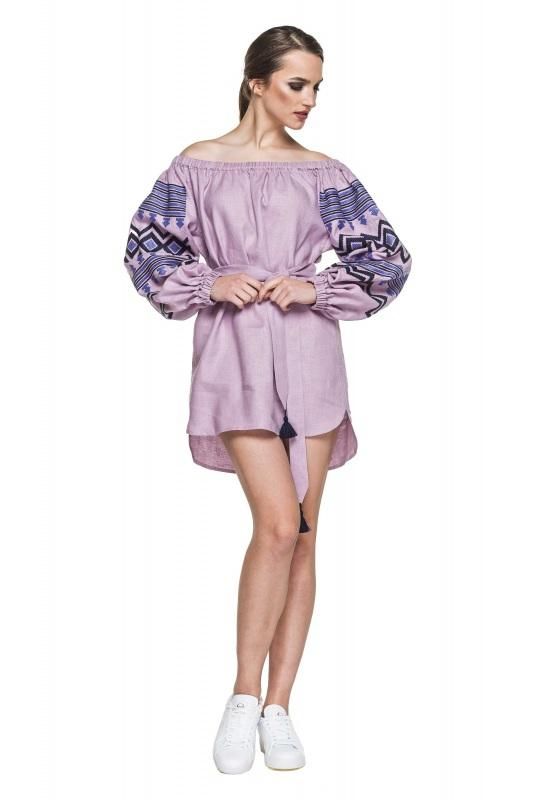 """Туника вышивка лиловая """"Наоми"""" Фиолетовый 100% высококачественный л BAZENA - фото 1"""