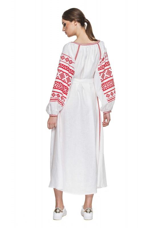 """Платье вышиванка белая """"Геометрия"""" Белый 100% высококачественный л BAZENA - фото 2"""