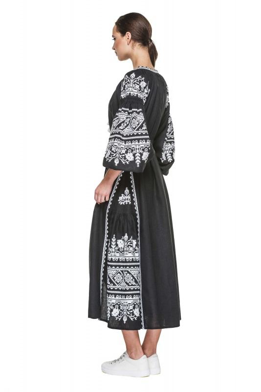 """Платье вышиванка черная """"Сабина"""" Черный 100% высококачественный л BAZENA - фото 3"""