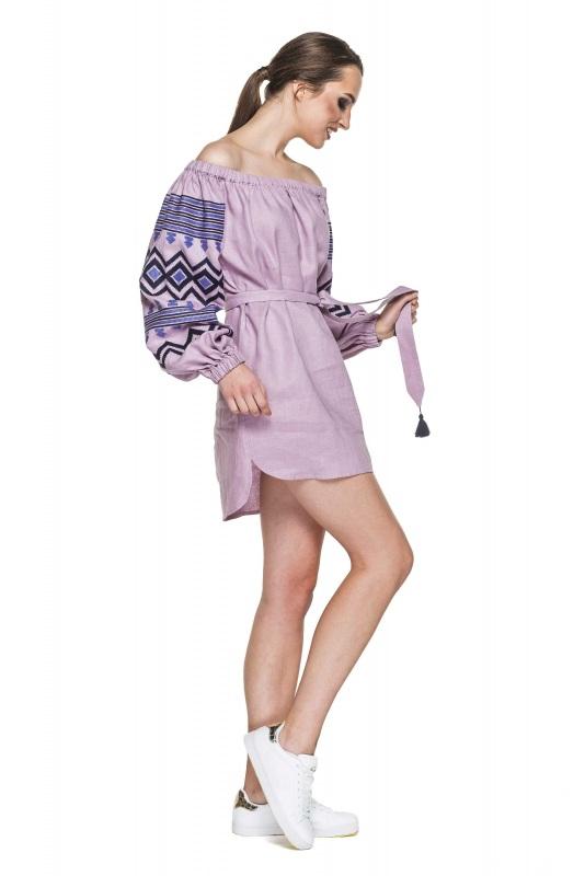 """Туника вышивка лиловая """"Наоми"""" Фиолетовый 100% высококачественный л BAZENA - фото 3"""
