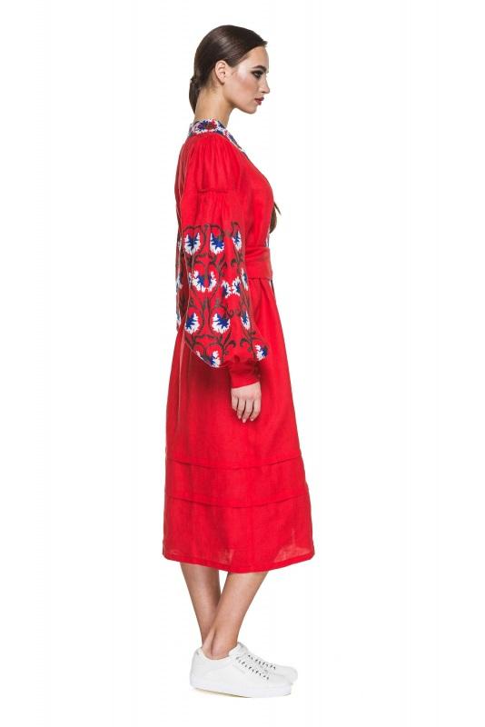 """Платье вышиванка красная """"Васильки"""" Красный 100% высококачественный л BAZENA - фото 3"""