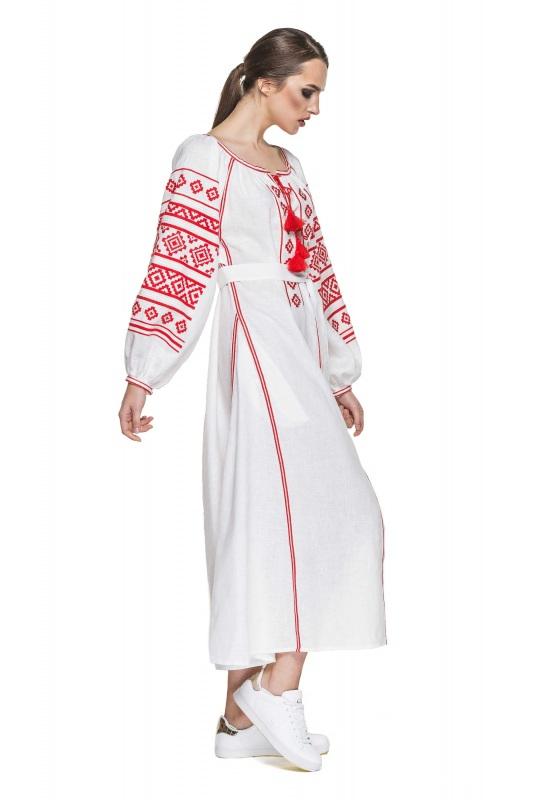"""Платье вышиванка белая """"Геометрия"""" Белый 100% высококачественный л BAZENA - фото 3"""