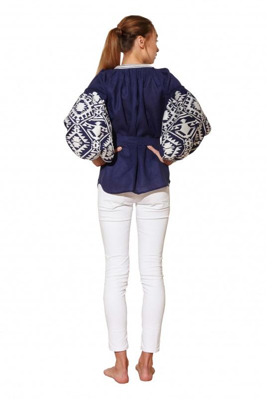 """Блуза вышиванка """"Гармония"""" Синий 100% высококачественный л BAZENA - фото 3"""