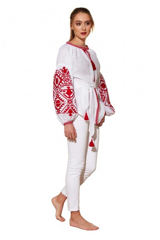 """Блуза вышиванка """"Дерево рода"""" Белый 100% высококачественный л BAZENA - фото 3"""