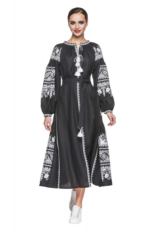 """Платье вышиванка черная """"Сабина"""" Черный 100% высококачественный л BAZENA - фото 1"""