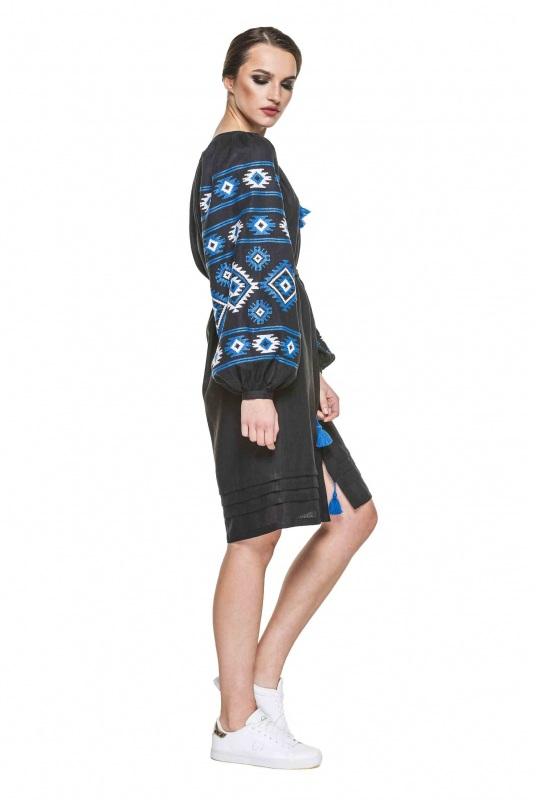 """Платье вышиванка черная """"Карпаты"""" Черный 100% высококачественный л BAZENA - фото 2"""