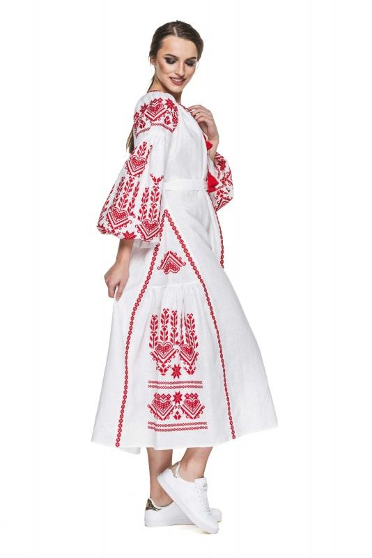 """Платье вышиванка белая """"Агния"""" Белый 100% высококачественный л BAZENA - фото 2"""