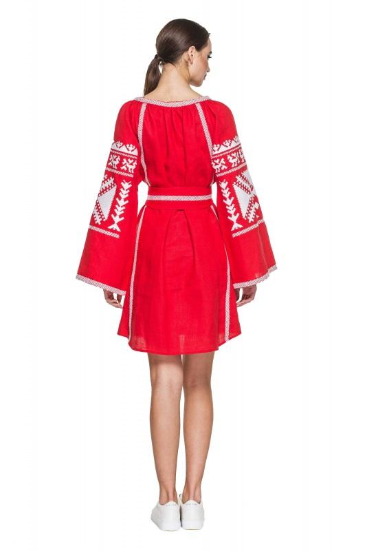 """Платье вышиванка красная """"Жар-птица"""" Красный 100% высококачественный л BAZENA - фото 2"""