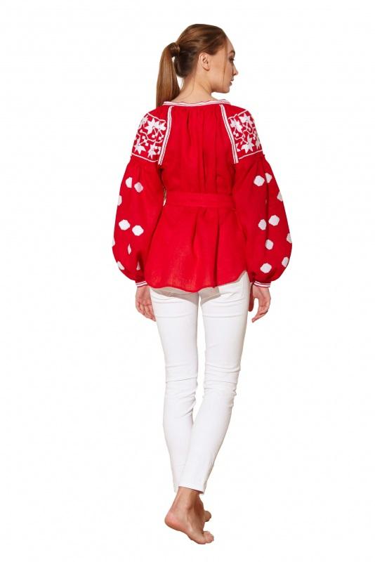 """Блуза вышиванка """"Геометрия"""" Красный 100% высококачественный л BAZENA - фото 3"""