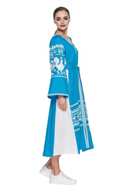 """Платье вышиванка голубая """"Жар-птица"""" Голубой 100% высококачественный л BAZENA - фото 2"""