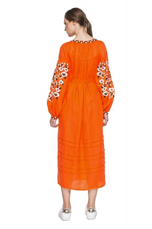 """Платье вышиванка оранжевая """"Флора"""" Оранжевый 100% высококачественный л BAZENA - фото 2"""