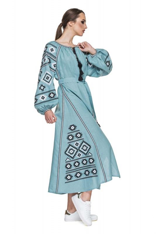 """Платье вышиванка серо-голубая """"Карпаты"""" Голубой 100% высококачественный л BAZENA - фото 2"""