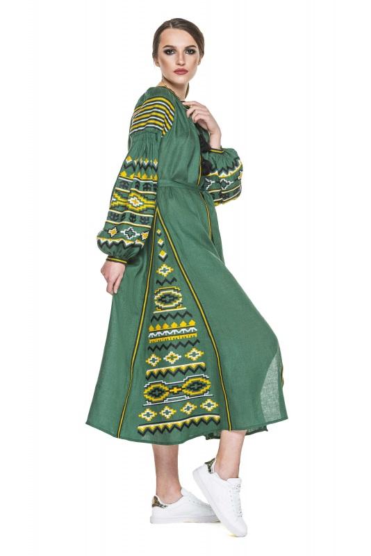 """Платье вышиванка зеленая """"Бесконечность"""" Зеленый 100% высококачественный л BAZENA - фото 3"""