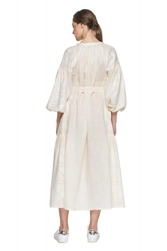 """Платье вышиванка молочная """"Сабина"""" Белый 100% высококачественный л BAZENA - фото 3"""