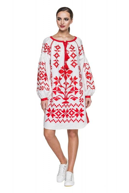 """Туника вышиванка белая с красными вставками """"Дерево Жизни"""" Белый 100% высококачественный л BAZENA - фото 1"""