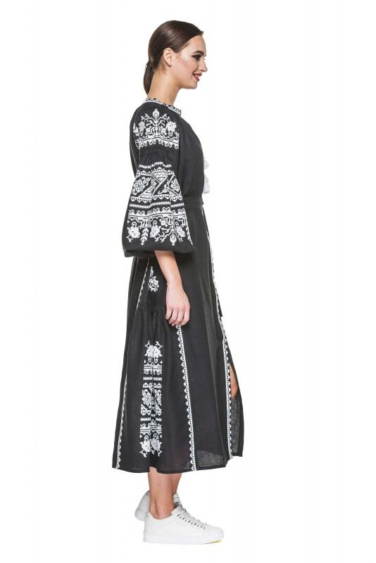 """Платье вышиванка черная """"Сабина"""" Черный 100% высококачественный л BAZENA - фото 2"""