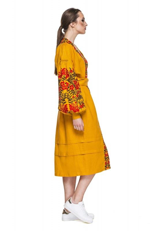 """Платье вышиванка горчичное """"Лилея"""" Желтый 100% высококачественный л BAZENA - фото 3"""