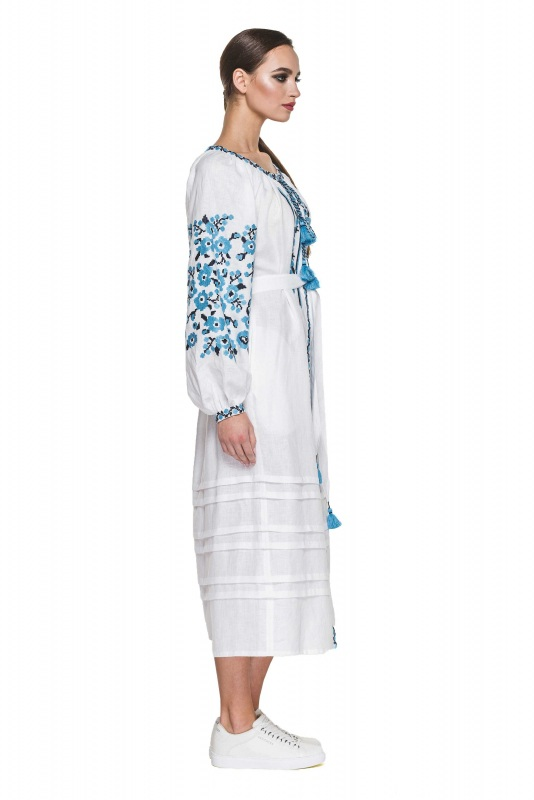 """Платье вышиванка белая """"Флора"""" Белый 100% высококачественный л BAZENA - фото 3"""