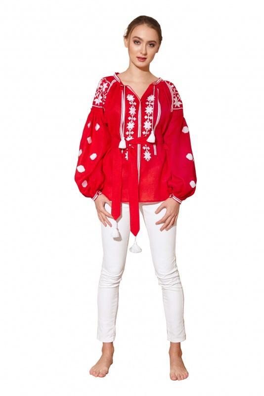 """Блуза вышиванка """"Геометрия"""" Красный 100% высококачественный л BAZENA - фото 1"""