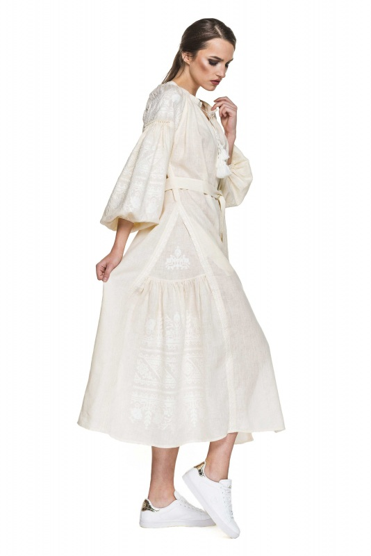 """Платье вышиванка молочная """"Сабина"""" Белый 100% высококачественный л BAZENA - фото 2"""