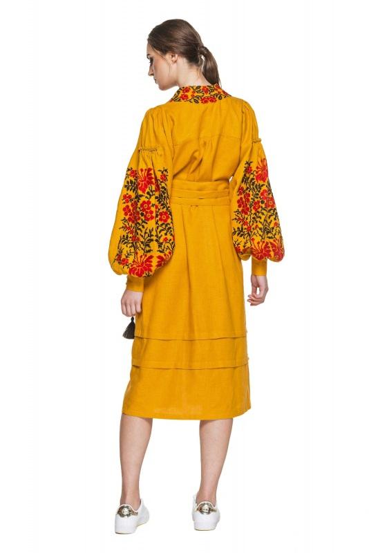 """Платье вышиванка горчичное """"Лилея"""" Желтый 100% высококачественный л BAZENA - фото 2"""