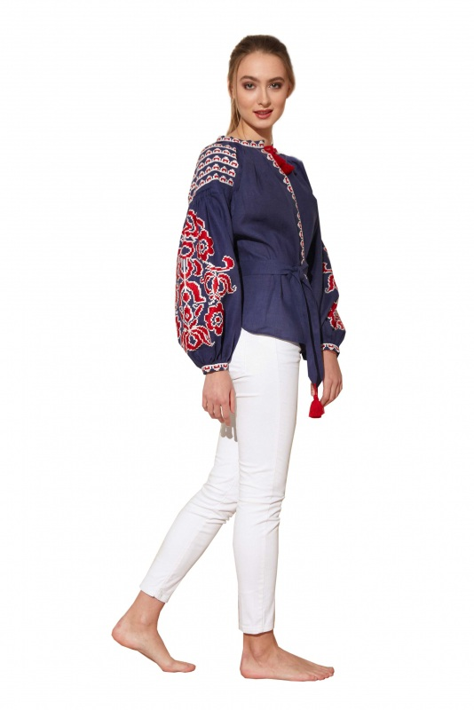"""Блуза вышиванка """"Бажена"""" Синий 100% высококачественный л BAZENA - фото 3"""