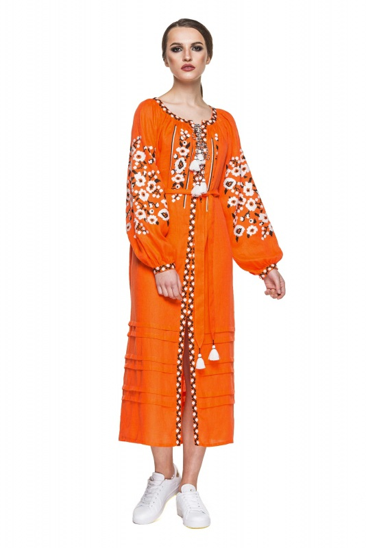 """Платье вышиванка оранжевая """"Флора"""" Оранжевый 100% высококачественный л BAZENA - фото 1"""