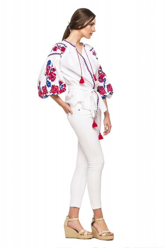 """Блуза вышиванка """"Маричка"""" Белый 100% высококачественный л BAZENA - фото 3"""