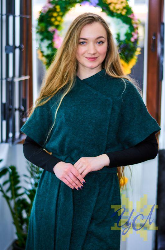 Платье кардиган зеленого цвета на рукавах вишивка Зеленый Итальянский трикотаж с ан Колода Людмила - фото 2