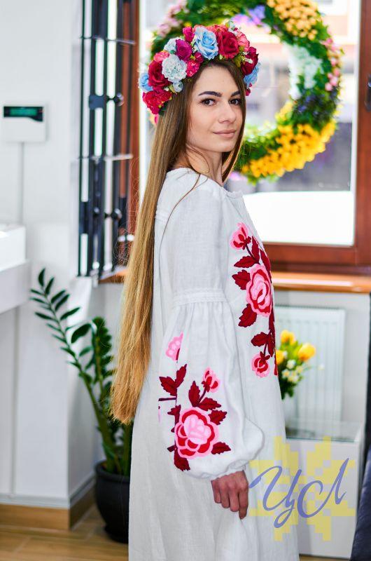 Платье-кардиган белый лен вышивка тамбурный шов красные цветы Белый натуральный лен, кружево Колода Людмила - фото 3