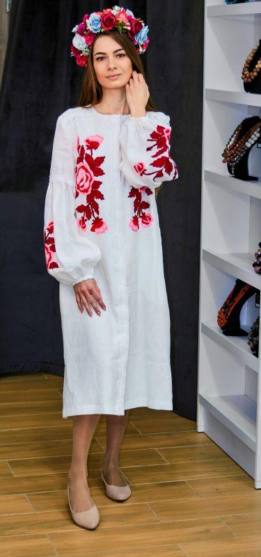 Платье-кардиган белый лен вышивка тамбурный шов красные цветы Белый натуральный лен, кружево Колода Людмила - фото 2
