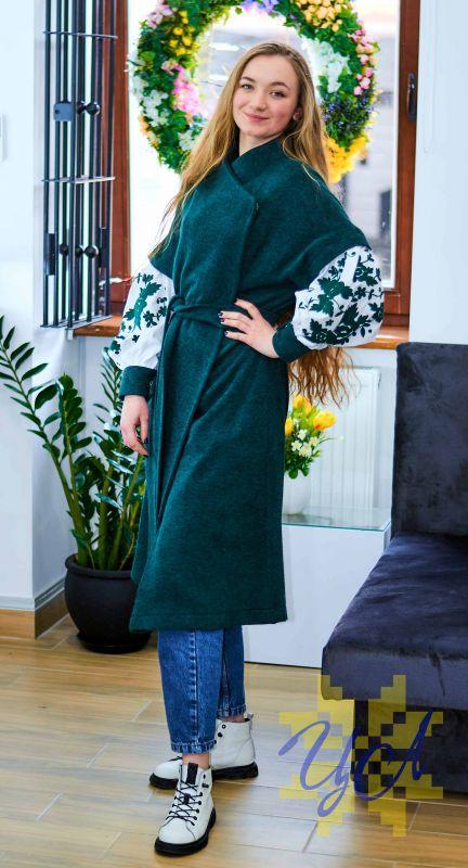 Платье кардиган зеленого цвета на рукавах вишивка Зеленый Итальянский трикотаж с ан Колода Людмила - фото 5