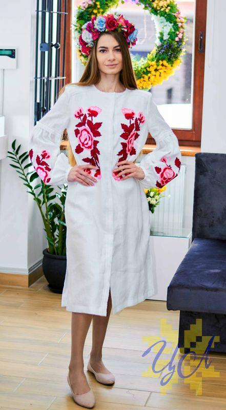 Платье-кардиган белый лен вышивка тамбурный шов красные цветы Белый натуральный лен, кружево Колода Людмила - фото 5