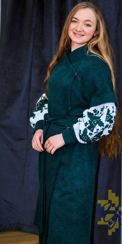 Платье кардиган зеленого цвета на рукавах вишивка Зеленый Итальянский трикотаж с ан Колода Людмила - фото 3