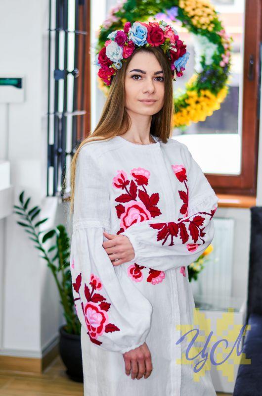 Платье-кардиган белый лен вышивка тамбурный шов красные цветы Белый натуральный лен, кружево Колода Людмила - фото 1