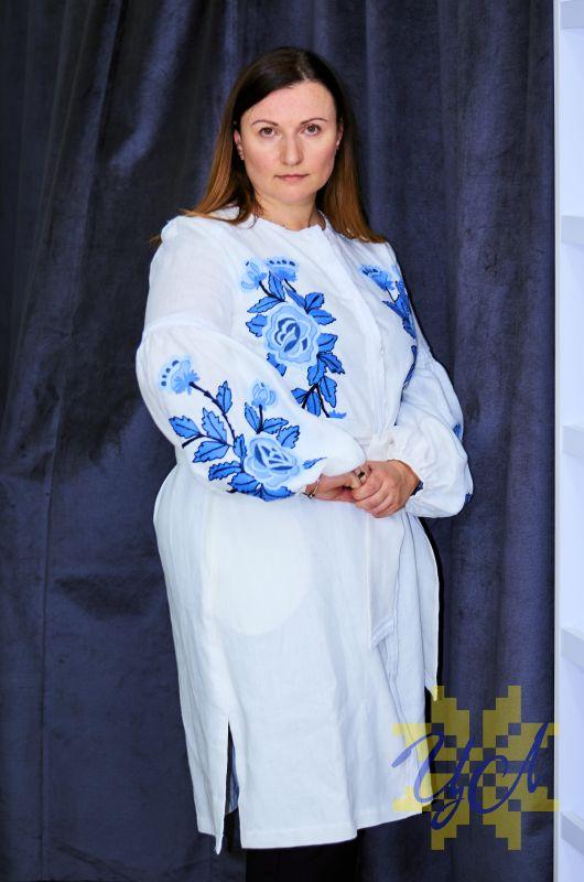 Платье белого цвета с  вышивкой яркие синие цветы Белый Натуральный льон, кружево Колода Людмила - фото 5