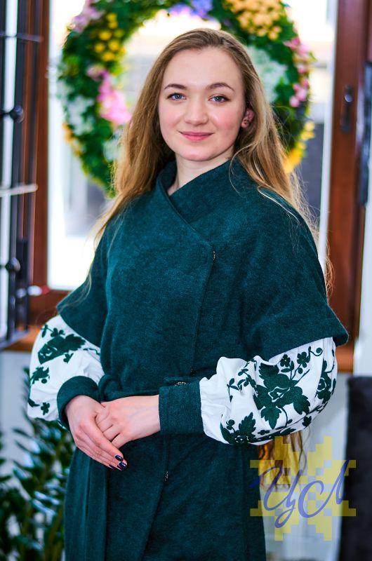 Платье кардиган зеленого цвета на рукавах вишивка Зеленый Итальянский трикотаж с ан Колода Людмила - фото 1