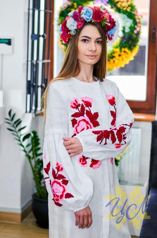 Платье-кардиган белый лен вышивка тамбурный шов красные цветы Белый натуральный лен, кружево Колода Людмила - фото 4