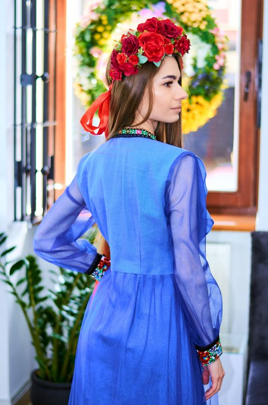 Платье-туника синего льна на пуговицы, вышивка яркие цветы крестиком Синий Натуральный синий лен, ев Колода Людмила - фото 5