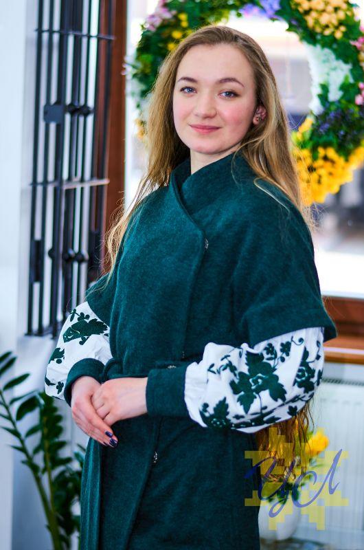 Платье кардиган зеленого цвета на рукавах вишивка Зеленый Итальянский трикотаж с ан Колода Людмила - фото 4