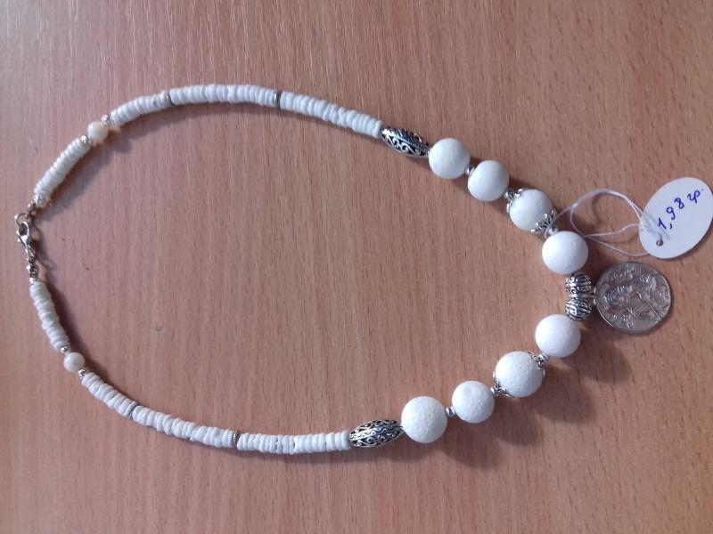 Ожерелье из белого коралла с серебряной подвеской Белый коралл белый круглый сере Колода Людмила - фото 3