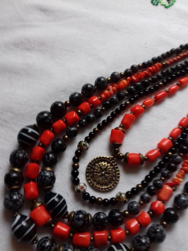 Ожерелье к Борщевской вышиванке  коралл, черный шунгит.обс Колода Людмила - фото 4
