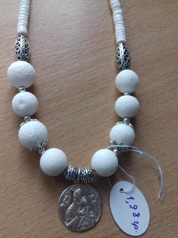 Ожерелье из белого коралла с серебряной подвеской Белый коралл белый круглый сере Колода Людмила - фото 1