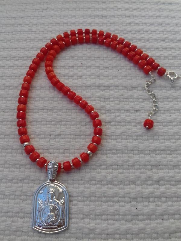 Ожерелье из натурального коралла кораллового цвета и серебряная подвеска Красный коралл серебро Колода Людмила - фото 2