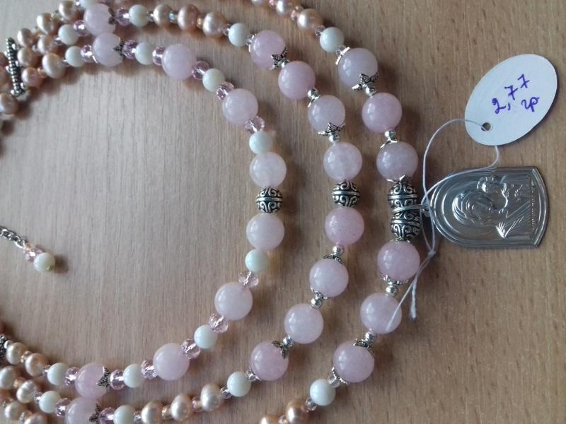 Ожерелье и браслет из розового кварца и жемчуга и серебряная подвеска Розовый розовый кварц жемчужины с Колода Людмила - фото 1