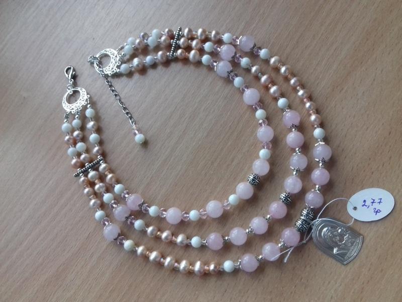 Ожерелье и браслет из розового кварца и жемчуга и серебряная подвеска Розовый розовый кварц жемчужины с Колода Людмила - фото 2