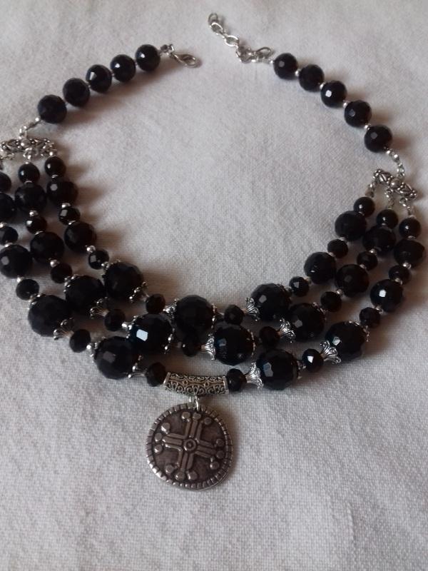 Ожерелье из черного агата с кулоном Черный черный агат Колода Людмила - фото 1